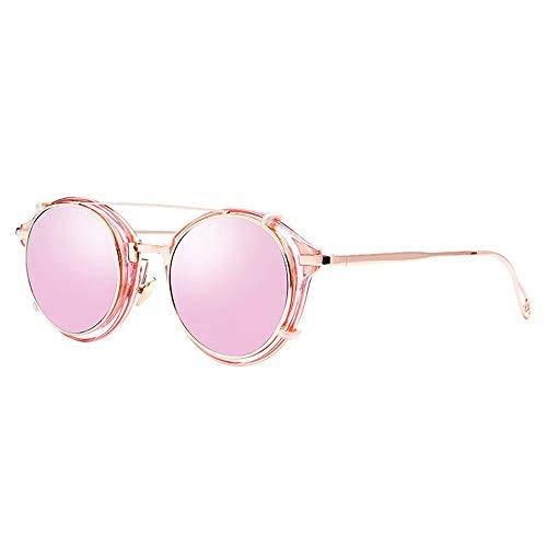 WULE-Sunglasses Unisex Männer UV400 Schutz Europa und die Vereinigten Staaten Runde Retro-Brille Weibliche Steampunk-Sonnenbrille (Farbe : Pink)