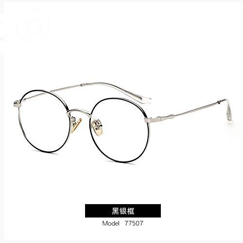 LUOSHUI Neue Anti-Blau-Brille Retro Metall flach Spiegel männliche und weibliche Gläser Rahmen ID77057 C4 Schwarz Silber Rahmen