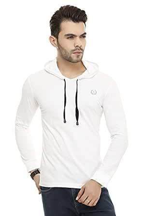 Lee Marts Men's Cotton Regular Fit Hoodfull Sleeves T-Shirt White_38