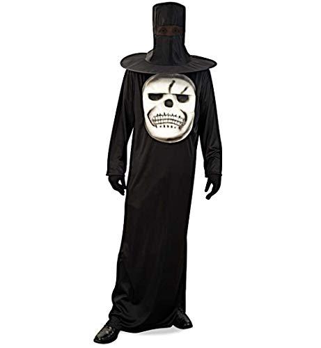 KarnevalsTeufel Kostüm Big Skull Robe Hutmaske schwarz weiß -