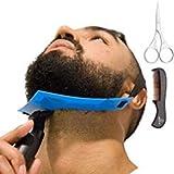 Aberlite Bartformer — Flex-Schablone für Halsrasur — Freihändig & Anpassungsfähig — Die Ultimative Trimm-Schablone für die Halslinie (Patent angemeldet) (Blau) — Bart-Trimmer — Bart-Schablone