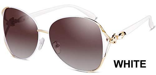 LKVNHP Schwarz Großen Rahmen Oval Metall Sonnenbrille Frauen Polarisierte Trendy Retro Uv400 Mode Fahrer Sonnenbrille WeiblicheWPGJ124 Weiß