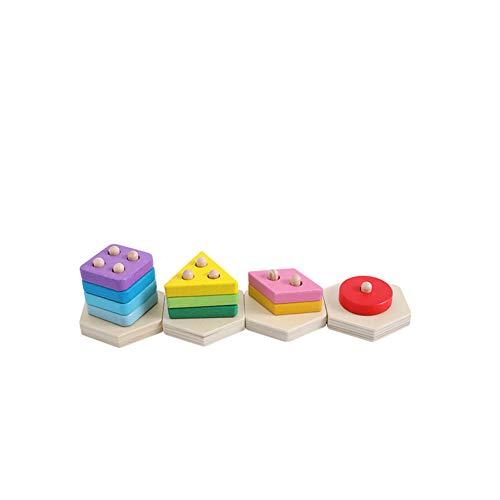 TrifyCore Wooden Puzzle Kinder-Spielzeug aus Holz Beiträge Preschool Geometric Blocks Stacking Montageblöcke aus Holz pädagogisches Spielzeug für Kinder Multicolor 1Set
