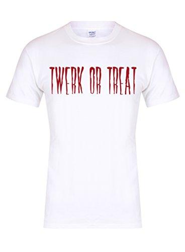 Unisex Slogan T-Shirt Twerk or Treat White Large with Red