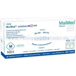 Einmalhandschuhe aus Nitril MaiMed Solution next PF weiß M Gr. 8, puderfrei, unsteril, latexfrei, 200 Stück/Box