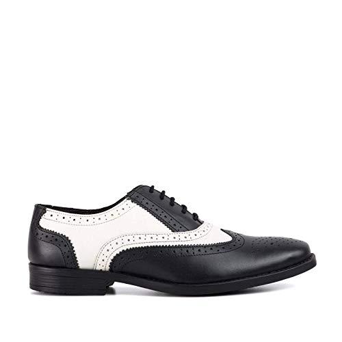 Redfoot Schwarzer & weißer Herren Oxford Brogue Schuh - 10 UK