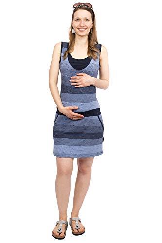Viva la Mama - Kleider Schwangerschaft Umstandkleid Damen Sommer Maternity Kleid Minikleid - Costa Marine blau - M