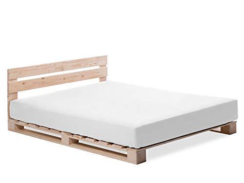 PALETTI Palettenbett inklusive Kopfteil Massivholzbett Holzbett Bett aus Paletten mit 11 Leisten, Palettenmöbel, 140 x 200 cm, Fichte Natur