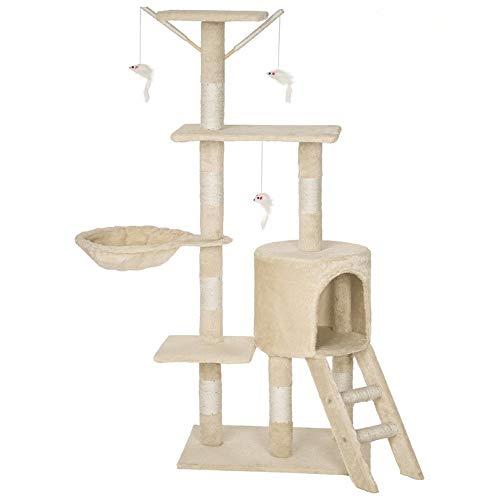 HENGMEI Kratzbaum Kletterbaum Katzenbaum Spielbaum mit Hängematte, Höhle Katzenmöbel für Katzen,135x50x35cm (Beige)
