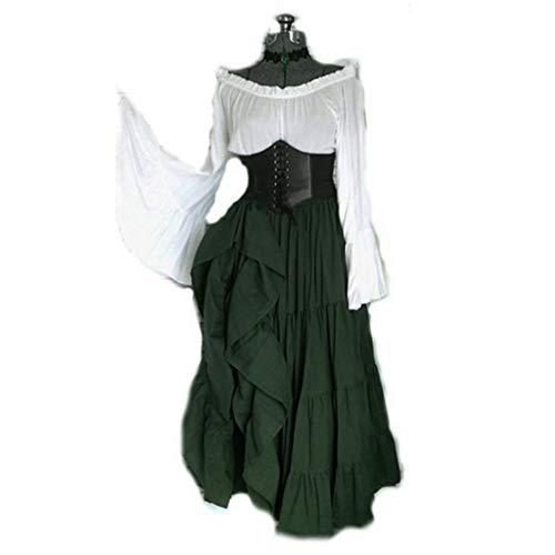 Huacat Damen Mittelalter Kleid Renaissance Retro Stil Kontrastfarben erhalten Taille Trompete Ärmel Prinzessin KleidHalloween Mittelalterliche mit Cosplay