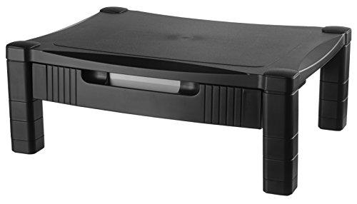 Kantek MS400 Monitor/Laptop-Ständer, höhenverstellbar, 43,2 x 33 x 7,6 cm Einzelne Ebene mit Schublade schwarz