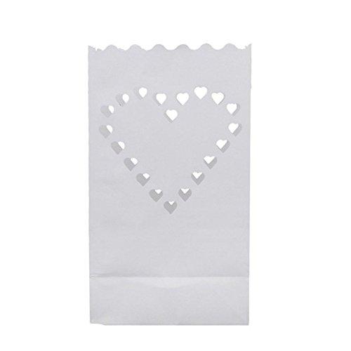 Yonganuk 10-teilig Leuchte Papierlaterne Kerze Teelicht Beutel Flame Resistant Papier für Hochzeit Dekorative Licht Halter Romantisch DIY Party Supplies Papierlaterne - Wie Abgebildet Show, love heart