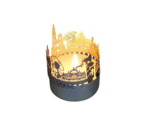13gramm Antwerpen-Skyline Windlicht Schattenspiel Souvenir, 3D Edelstahl Aufsatz für Kerze inkl. Karte