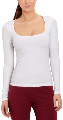 FALKE Damen Langarmshirt 40912 A-Neck LS SH Weiß (white 2209)