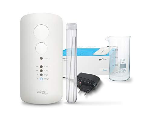 goSilver® Basic Set - Silbergenerator 4 automatische Programme (Inkl. 1 Paar Silber Elektroden, Becherglas, TRUEppm Technologie)