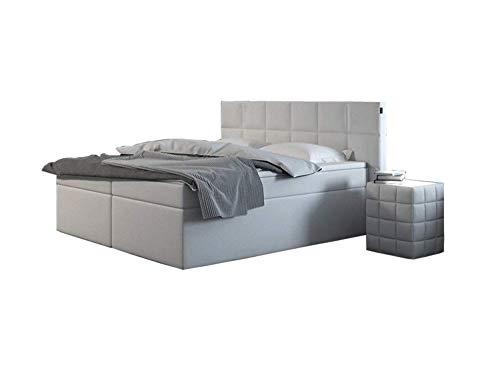 SAM® Design Boxspringbett Merida ECO, Kunstlederbezug in weiß, Box mit Nosag-Unterfederung, Zwei 90 cm Bonellfederkern-Matratzen, Doppelbett 180 x 200 cm