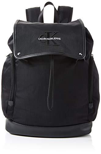 Calvin Klein Herren Monogram Nylon Flap Backpack 45 Taschenorganizer, Schwarz (Black), 16x42x32 cm