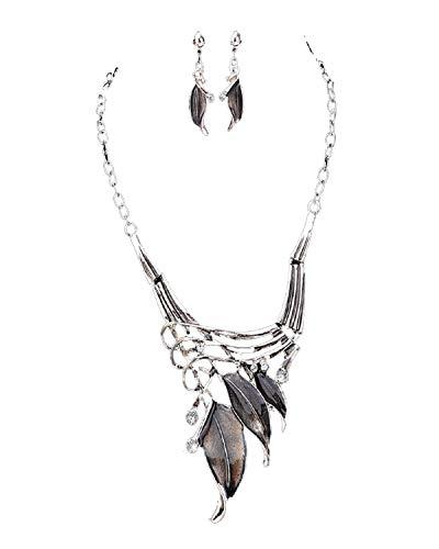 Koojawind Einfache Kupfer Blatt AnhäNger Halskette Kette FüR Frauen Und MäDchen Mit Einem Paar Ohrringe Ring, AnhäNger Halskette ()