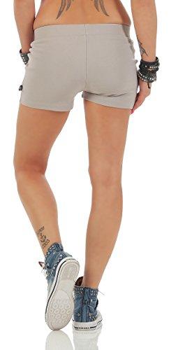 Gennadi Hoppe Damen Hotpants kurze Fitness Hose kurze Hose Laufshorts Sporthose Trainingshose Gym strech Shorts Hellgrau
