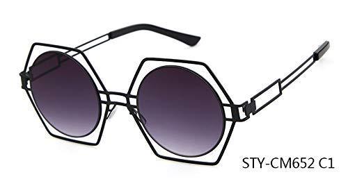 ZHAS High-End-Brille Neueste Persönlichkeit Blenden Sonnenbrille Sechseck Rahmen Runde Linse Aushöhlen Sonnenbrille Frauen Personalisierte High-End-Sonnenbrille Multi C1