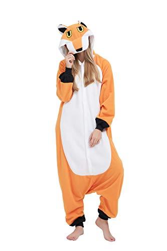 fasching fuchs Fandecie Tier Kostüm Tierkostüm Tier Schlafanzug Fuchs Pyjamas Jumpsuit Kigurumi Damen Herren Erwachsene Cosplay Tier Fasching Karneval Halloween (Fuchs, M:Höhe 160-169cm)