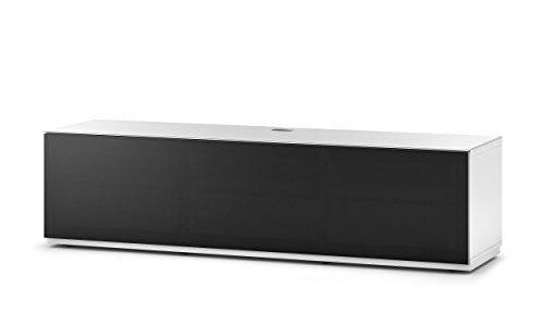 Sonorous Sta 260T-BLK WHT BS Stehende Meuble TV bas Avec Roulettes caché, caisse blanche, surface supérieure, Blanc trempé verre et porte à rabat avec acoustique plastique noir