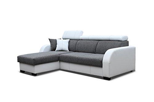 Couch mit Schlaffunktion Eckcouch Ecksofa Polstergarnitur Wohnlandschaft - COBBY (Ecksofa Links, Grau) - Couchgarnitur Ottomane