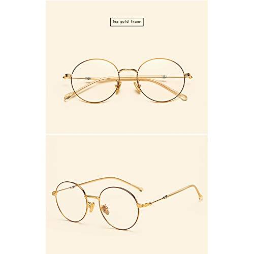 HQMGLASSES 2019 Neue runde Retro-Lesebrille, hochauflösende ultraleichte Mode Anti-Blaue komfortable Brille für Männer und Frauen +1.0 bis +3.0,Gold,+1.0