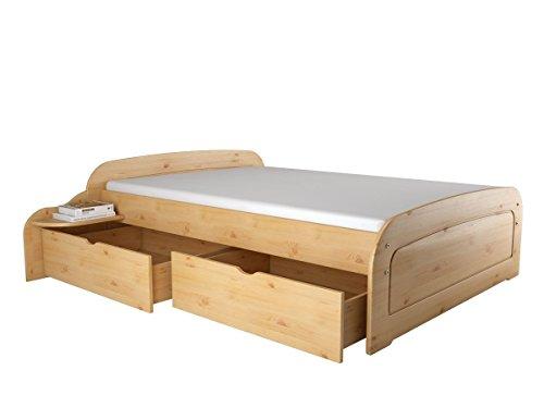 Ronja Bett 160x200 cm Funktionsbett Doppelbett Bettgestell Bettrahmen Kojenbett Kiefer (2 Bettkästen, Nachttisch, Gebeizt Geölt)