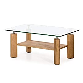 Amazon Brand – Alkove Hayes Solid Wood 1-Shelf Coffee Table with Glass Table Top, 100 x 65 x 44cm, Glass/Wild Oak