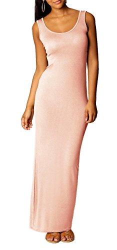 Mikos Sexy Damen Boho Sommer ärmellos Stretch Lange Maxi Abend Kleid Strandkleid (326) (XL, Puderrosa) (Maxi Kleider Für Frauen Abend)