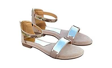 TipnToes Women's Fashion Flat Sandals (36 EU, Beige)