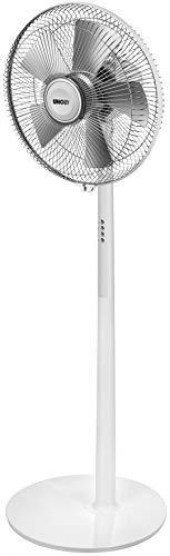 UNOLD 86820 STANDVENTILATOR Silverline White, 50 W, 3-stufig, Neigungswinkel verstellbar, Zuschaltbare Oszillation, Ventilatordurchmesser 40 cm, Weiß/Silber