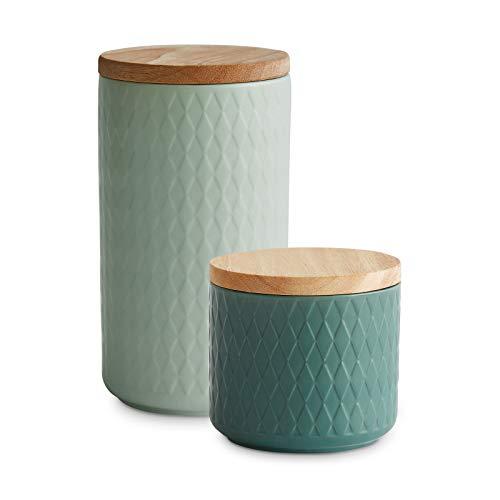 Keramik Vorratsdosen mit Holzdeckel Nordic Reef, Luftdichter Kautschukholz-Deckel, Aufbewahrungsdosen, Frischhaltedosen - 2tlg. Set: Hellgrün, Dunkelgrün