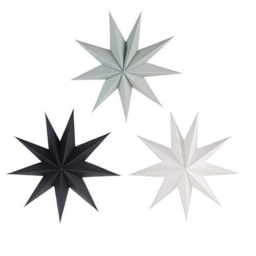 SUNBEAUTY 30cm Papier Stern Dekoration 3er Set Faltsterne Neuneck Weihnachtsstern Deko (Schwarz & Weiß & Grau)