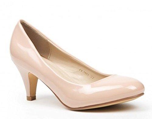 Klassische Damen Lack Pumps Glänzend Stilettos Abend Schuhe Party Hochzeit ID (39, Beige)