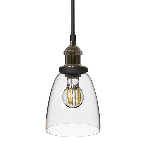 B.K. Licht I suspension verre vintage I 230V I IP20 I Ø 140 mm I plafonnier vintage I éclairage intérieur cuisine comptoir restaurant