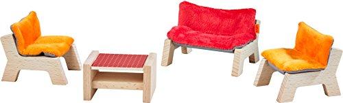HABA 303840 - Little Friends - Puppenhaus-Möbel Wohnzimmer | Mit Sofa, Tischchen und 2 Sesseln | Passend für alle Little Friends-Puppenhäuser
