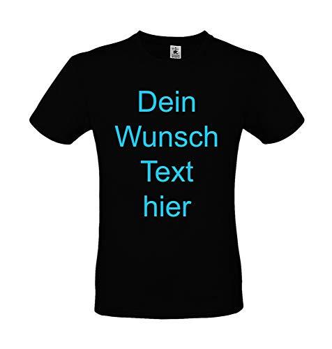 T-Shirt Bedrucken Lassen vorne und hinten Textildruck für Damen Herren Kinder Wunsch Text drucken zu jedem Anlass Baumwolle Öko Tex | Personalisiert Farbe schwarz, Größe M