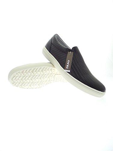 FRAU 28N3 nero scarpe uomo slip-on elastico stampa intreccio Nero
