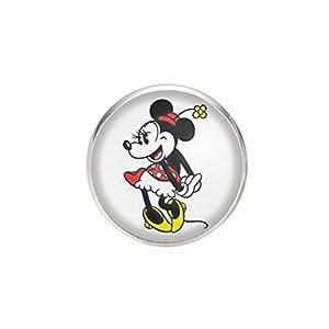 Edelstahl Brosche, Durchmesser 25mm, Stift 0,7mm, handgemachte Illustration Minnie Mouse 2