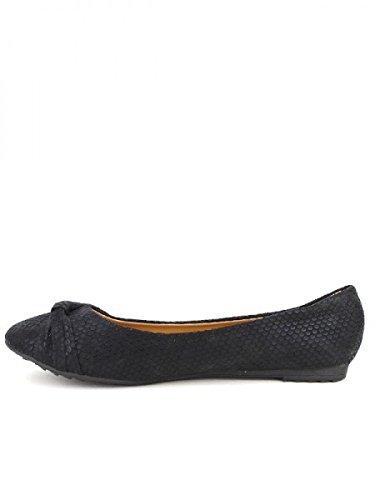 Cendriyon, Ballerine noire écailles REORS Chaussures Femme Noir