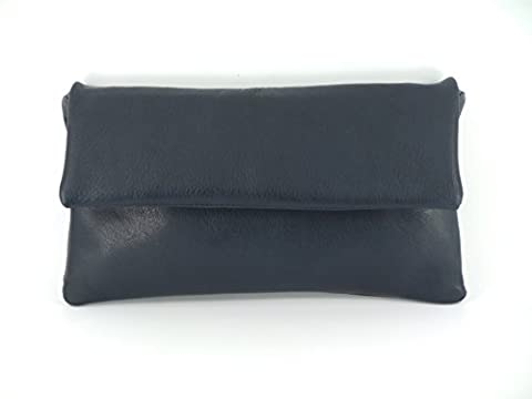 Fine Compact Size Real Leather Clutch Bag/Shoulder Bag Wedding/Occasion Bag In Navy