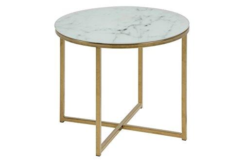 AC Design Furniture Ecktisch Antje, B: 50 x T:50 x H: 42 cm, Glas, Weiss