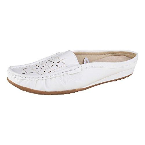 HSM Schuhmarketing LISANNE Comfort Damen Sabot, Weiß, Größe:38, Farbe:weiß