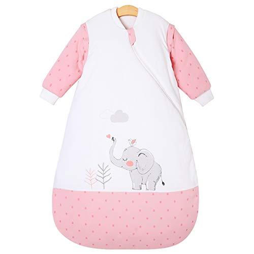 Chilsuessy Kinderschlafsack Baby Winterschlafsack Schlafsaecke aus GOTS Bio Baumwolle von Geburt bis 4 Jahre alt (L/Koerpergroesse 80-90cm, Rosa Elefant) - Rosa Langarm-knopf-front