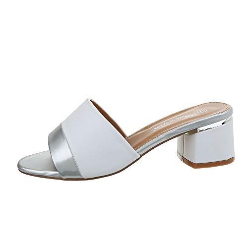 Ital-Design Damenschuhe Sandalen & Sandaletten Pantoletten Synthetik Weiß Silber Gr. 37