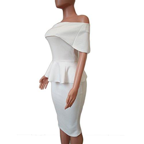 Womens Sexy Wrapped Chest Lotus-Blatt-Paket-Hüfte-Bleistift-Kleid Clubwear Kleid Weiß