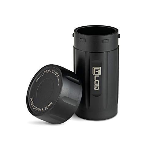Canniloq - 120 cc Onyx Black - Barattolo in alluminio aeronautico antiodore ed ermetico, sicuro per i bambini, ideale per erbe, caffè, spezie, tè e altri prodotti secchi.