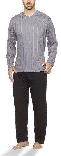 Herren Schlafanzug mit V-Ausschnitt und Streifen-Design - Moonline, Farbe:Streifen-Druck auf grau, Größe:50/52